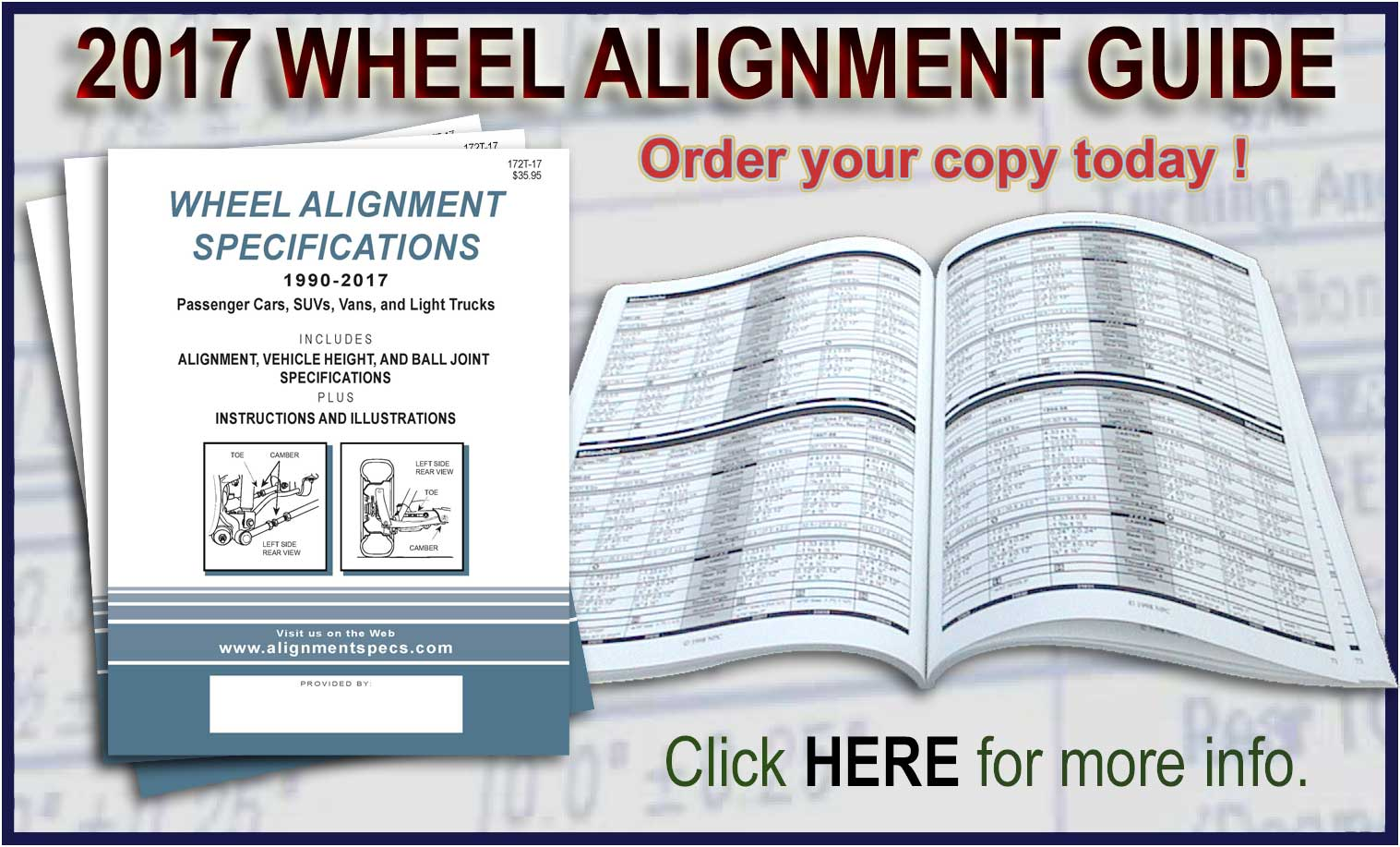 AlignmentSpecs.com Online Wheel Alignment Specs, Data Books and CDs